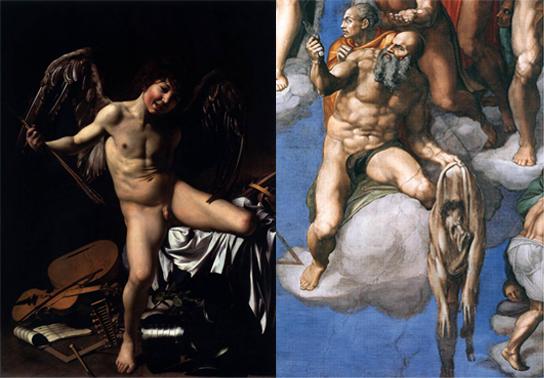 Amor Vincit Omnia di Caravaggio e San Bartolomeo (particolare Giudizio Universale) di Michelangelo