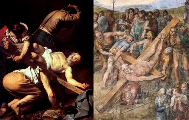 Crocifissione di San Pietro di Caravaggio e di Michelangelo