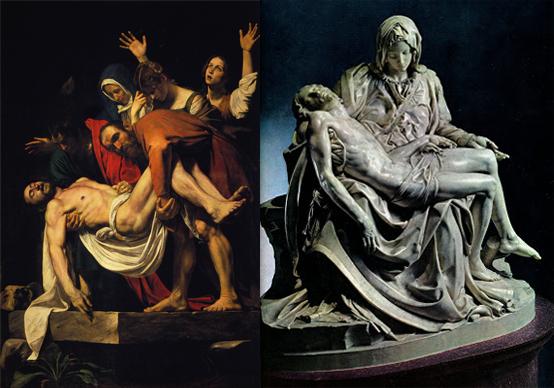 """""""Deposizione"""" di Caravaggio e """"Pietà"""" di Michelangelo"""