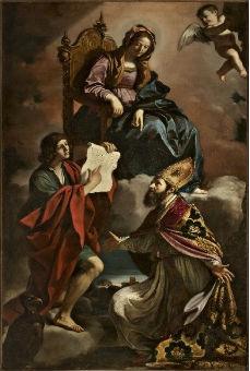 Madonna con i santi Giovanni Evangelista e Gregorio Taumaturgo - Guercino
