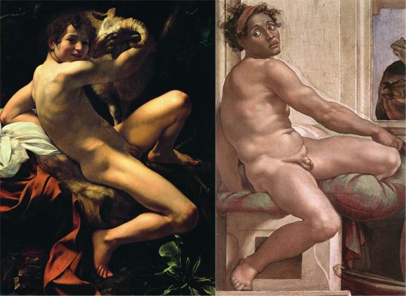 San Giovanni Battista di Caravaggio e un Ignudo della Cappella Sistina di Michelangelo