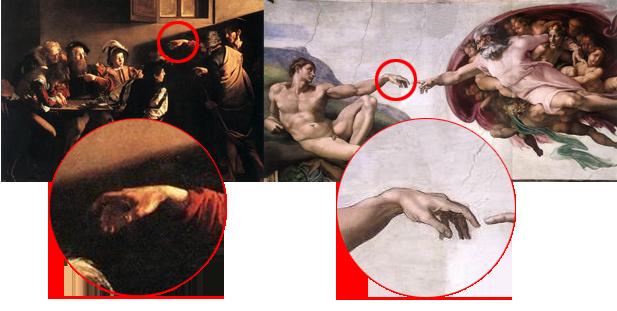 Vocazione di San Matteo di Caravaggio e Creazione di Adamo di Michelangelo