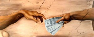 """Le mani della """"Creazione di Adamo"""" di Michelangelo si scambiano denaro"""