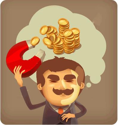 Un uomo pensa ai soldi e cerca di prenderli con una calamita