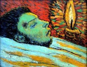 Ritratto di Picasso dell'amico Casagemas sul letto di morte