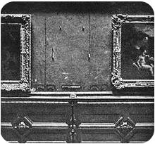 La parete del Louvre dopo il furto della Mona Lisa di Leonardo