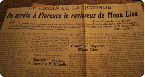 Giornale con la notizia del ritrovamento della Gioconda a Firenze