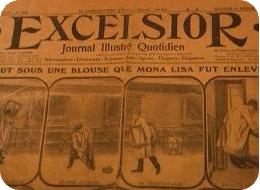 Prima pagina dell'Excelsior con la notizia del furto della Mona Lisa