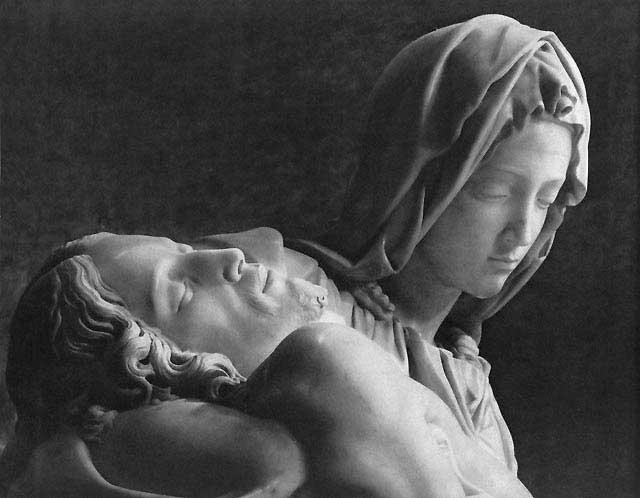 Dettaglio del volto della Madonna e del Cristo della Pietà di Michelangelo Buonarroti
