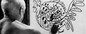 Pablo Picasso disegna un gallo