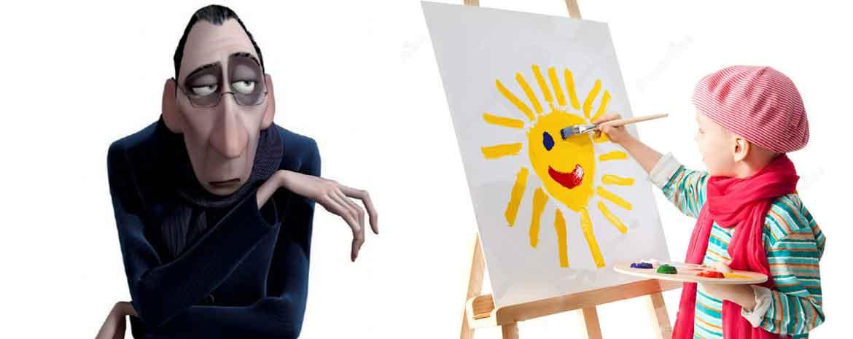 Un bimbo disegna sotto lo sguardo severo di un critico