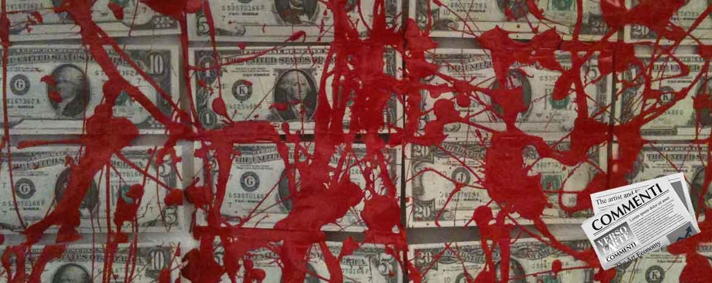 Dollari sporchi di vernice rossa