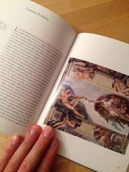 Immagine della Creazione di Adamo della Cappella Sistina in un libro