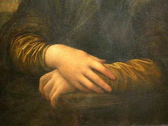 Un dettaglio delle mani di Mona Lisa di Leonardo