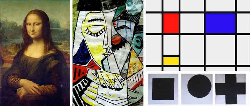 La Gioconda di Leonardo Da Vinci, un ritratto di Pablo Picasso, un'opera di Piet Mondrian e una di Kazimir Malevich