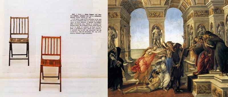 Opere di Joseph Kosuth e Sandro Botticelli a confronto