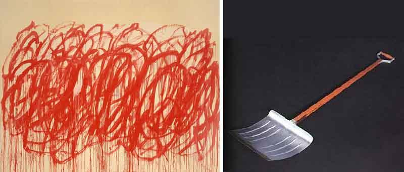 Quadro di Cy Twombly e opera di Marcel Duchamp