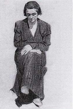 Christo - Tzveta, la madre dell'artista, 1948 - Matita su carta, 28,5 x 31,5