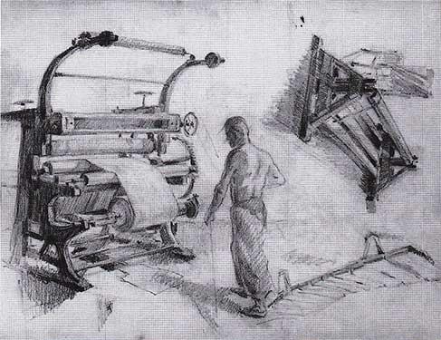 Christo - Macchinario tessile nella fabbrica di Plovdiv, 1950 - Matita su carta, 40 x 54 cm