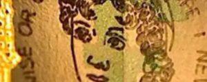 Il ritratto di Jane Austen sulla banconota da 5 pounds realizzato da Graham Short