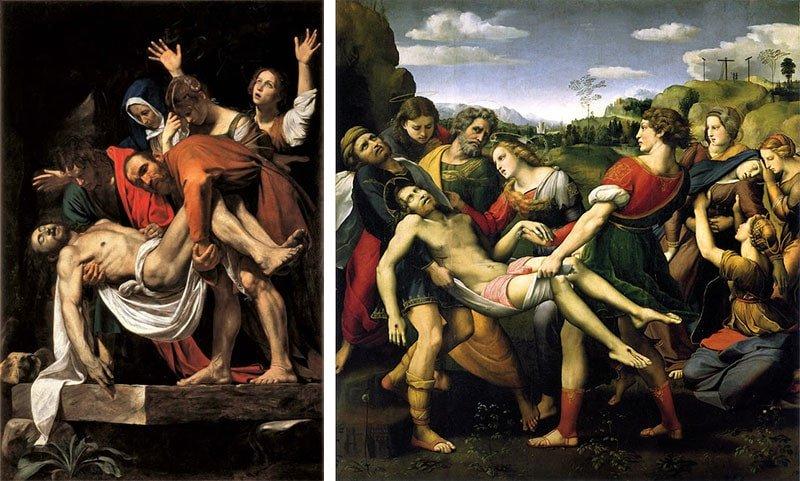 Deposizione Cristo Caravaggio e Raffaello